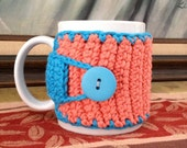 Crocheted Coffee Mug Cozy in Blue and Salmon