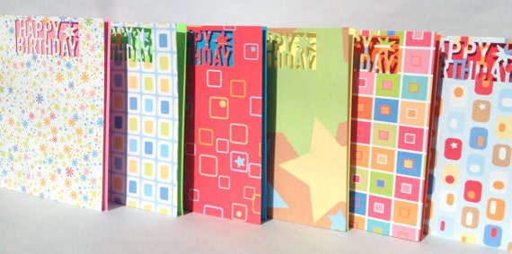 Set of six Birthday Cards, kids pack, handmade, stationary, happy birthday die cut, patterned card stock cards,
