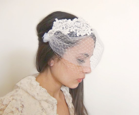 Vintage-inspired double layered birdcage veil with lace, pearl beading, french veiling and tulle