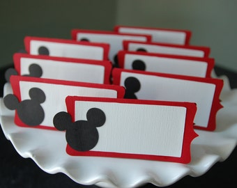 Mickey Mouse Food Labels, Place Cards, Mickey Mouse Party, Mickey Mouse Birthday, Mickey Mouse Theme, Mickey Mouse , 12 Pcs