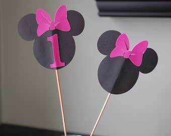 Minnie Mouse Centerpieces, Minnie Mouse Birthday, Minnie Mouse Party, 8 Pcs