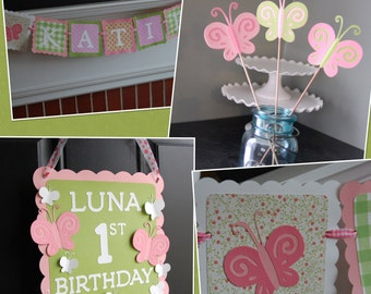 Butterfly Party Package, Butterfly Birthday Decorations, Name Banner, Centerpieces, Door Sign, Pink Green