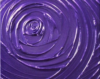 Painting Violet Purple Abstract Acrylic Pearlescent Healing Purple Vortex of Creation Sculpture 12x12 High Quality Original Modern Fine Art