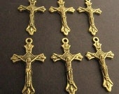 Small Antique Gold Rosary Crucifixes - set of 6