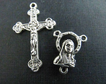 One Pair of Ornate Rosary Crucifix and Rosary Center