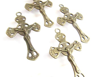 Bronze Vintage Style Rosary Crucifixes - set of 4