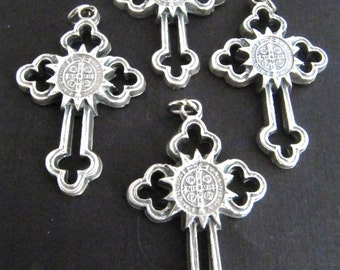 Silver Benedict Rosary Crucifixes - set of 4