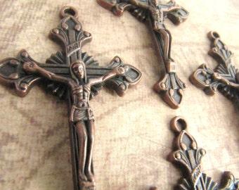 Beautiful Antique Copper Crucifixes - set of 4