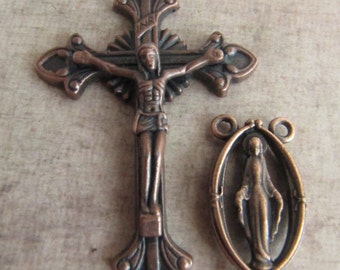 Beautiful Antique Copper Crucifix and Matching Our Lady of Grace Rosary Center - 1 pair