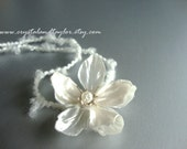 Newborn or Baby Girl Headband in White with Pearl Attached, Perfect for Photos