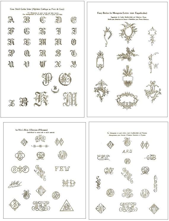 Vintage Hand EMBROIDERY MONOGRAM Design PATTERNS 100s of