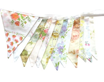 Vintage Bunting - Retro Pretty Spring Pastel & Ivory / White Multi-Colour Floral Flags .  HANDMADE . Kitchen High Tea Party, Wedding etc