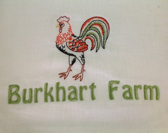 Personalized chicken flour sack towel