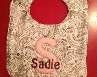 Pink Paisley Personalized Baby girl bib