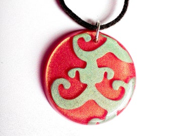 SALE Turquoise Pink Gold Resin Pendant Necklace Gray Suede Sterling Silver CLEARANCE CLOSEOUT