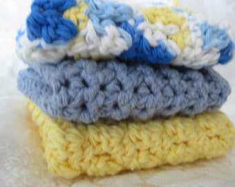 Handmade  crochet cotton dishcloths 3 piece multi white with stripe  RTS