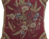 Red Floral Tapestry Pillow