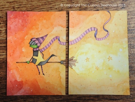Defying Gravity Witch Aceo double original OOAK Mini Art