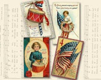 Vintage America, July 4th, Patriotic Digital Gift Tags Scrapbook clip art, Crafts Instant Download, craft supplies, digital collage