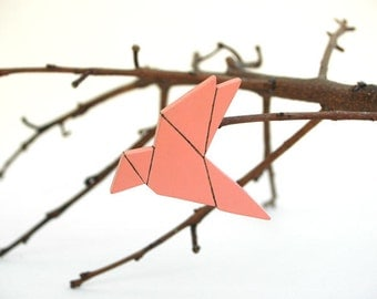 Origami Bird Brooch Bird Pin Coral Animal  Brooch Geometric Minimal Jewelry Made to Order