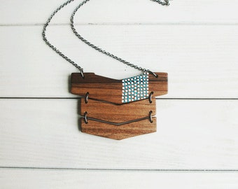Big Chevron   Necklace Geometric Necklace Natural Wood Necklace Eco Friendly Necklace Made to Order