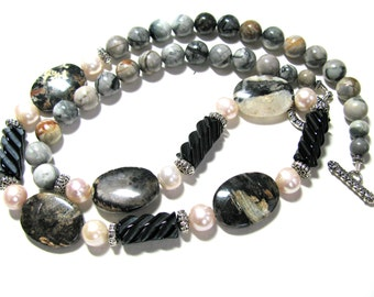 Silver Leaf Jasper necklace, beaded necklace, carved Onyx, FWP, gemstones, Picasso Jasper,  earthy necklace 031