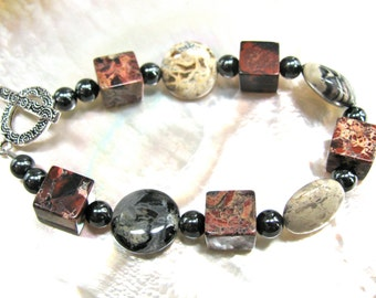 Red, beige and grey bracelet, Brecciated Jasper cubes with Silver Leaf Jasper, beaded bracelet, gemstones 162