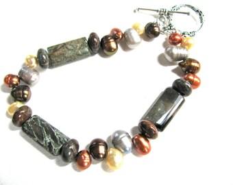 Earthy bracelet, Multicolor Fresh Water Pearls with Snakeskin Jasper, gemstones,  beaded bracelet 091