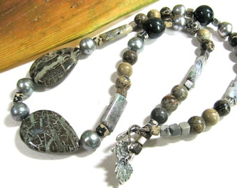 Earthy necklace,  Snakeskin Jasper with Paint Brush Jasper and  Obsidian, beaded necklace, gemstones 098