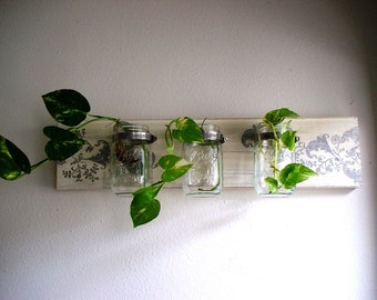 Sale -- Decoupaged  Flora Cream Wooden  Mason Jar Wall Planter / Wall Decor / Pen Orgnizer