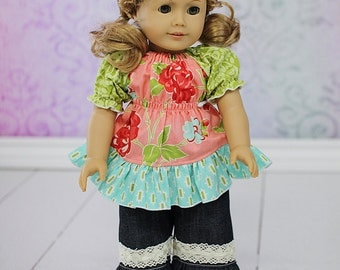"""HALF OFF SALE Felicity's Peasant Top and Jenna's Pants 18"""" Doll Size pdf Pattern Pack"""