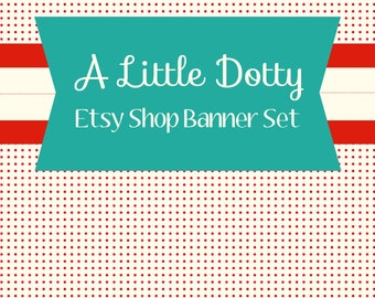 Etsy Shop Banner Set w/ New Size Cover Photo Cute Polka Dots - 6 Piece Set  - Red and Aqua Blue