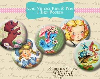 Cute Vintage Children and Animals 1 inch 25mm Circle Rounds Digital Collage Sheet   INSTANT Download - Bottle cap Pendant Jewelry