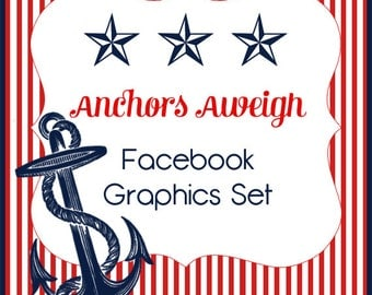 """Facebook Timeline Cover and Avatar """"Anchors Aweigh"""" Cute Nautical Design"""