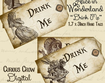 Drink Me Alice in Wonderland Characters Hang Tags Digital Collage Sheet 1.7 x 3 Inches INSTANT Printable Download Wedding or Party Favors