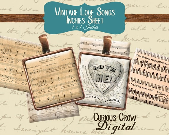 Vintage Love Songs Inchies Digital Collage Sheet 1 x 1 Inch INSTANT Printable Download - Jewelry, Scrapbook, Pendants
