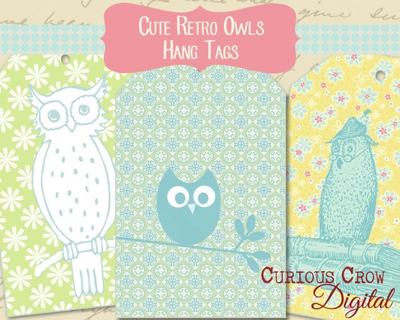 Cute, Pastel Owl Hang Tags Digital Collage Sheet -  INSTANT Printable Download