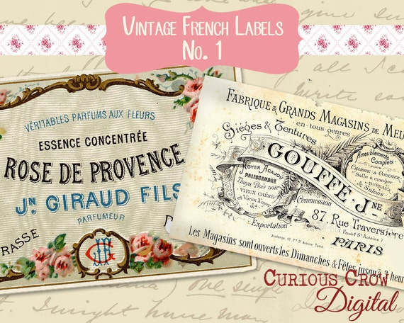 Vintage French Labels No.1 Digital Collage Sheet -  INSTANT Printable Download