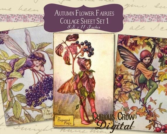 Digital Collage Sheet - Autumn Flower Fairies (Sheet 1) -  INSTANT Printable Download
