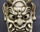 Demon Mask Japanese Oni (Antique White Finish)