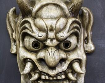 Oni Mask - Japanese Ogre (Antique White Finish)