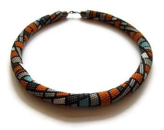 Bead crochet pattern. Geometric bead crochet necklace - pattern. JPG pattern for bead crochet rope.