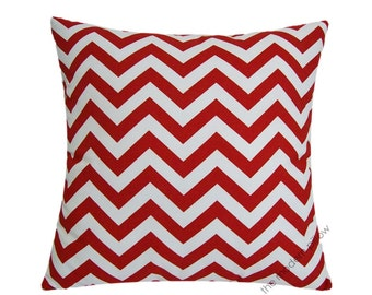 """Red and White Chevron Zig Zag Stripe Decorative Throw Pillow Cover / Pillow Case / Cushion Cover / Cotton / 20x20"""" Square"""