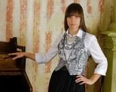 50% DISCOUNT / Feminine Silver Brocade Mini Vest / Gilet de brocart d'argent / fit for XS / S sized Women