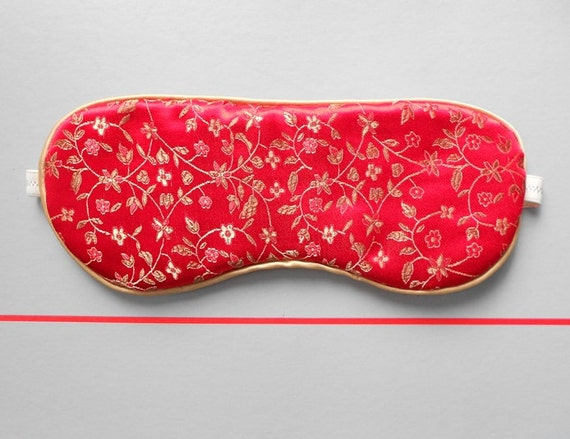 30 % DISCOUNT / Romantic Red & Gold Jacquard / Silk Handmade Sleep Mask - Eye Mask for him / her