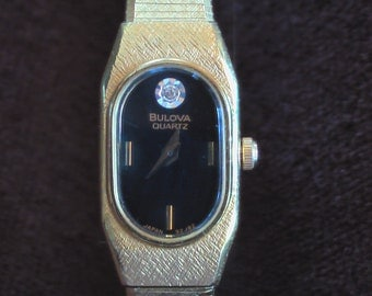 Vintage Bulova Womens Watch Yellow Gold With Diamond Accent