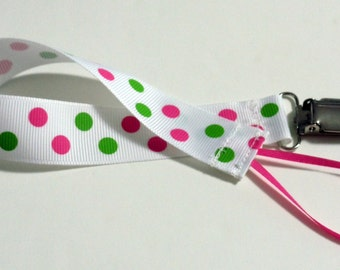 Sassy Pink  Green Ribbon Pacifier Clip Pacifier Holder