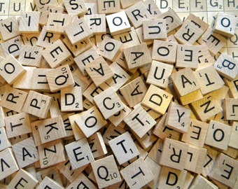 25 Newer Wood Scrabble Tiles RANDOM Picked for Jewelry, Altered Art, Collage, Scrapbooking or Mosaics