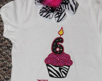 Number Cupcake Shirt with Matching Bow