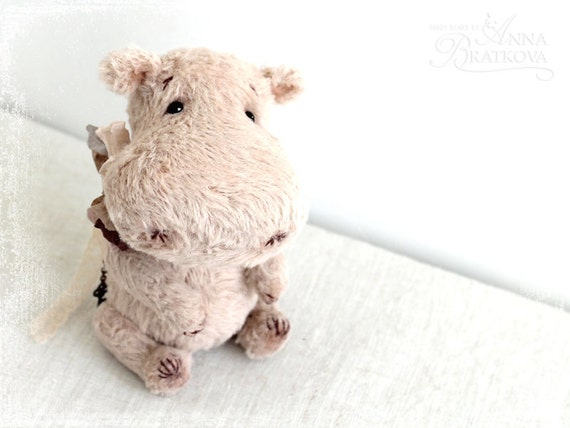 Special for Daniela- Artist Teddy Hippo 6 inches to order- for Daniela